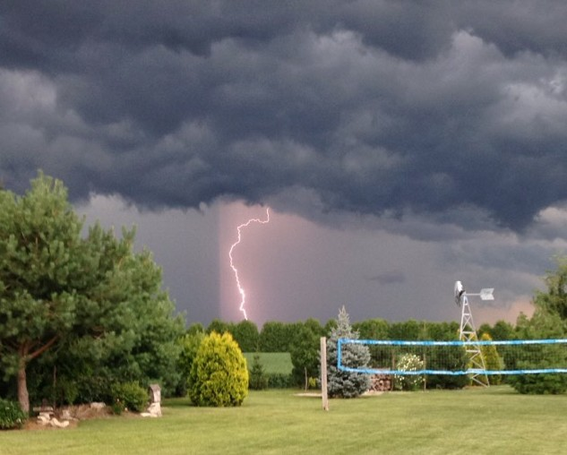 Lightning on Darrell Ln. during a thunderstorm August 14, 2015 (Photo courtesy of Rachel Hoekstra)