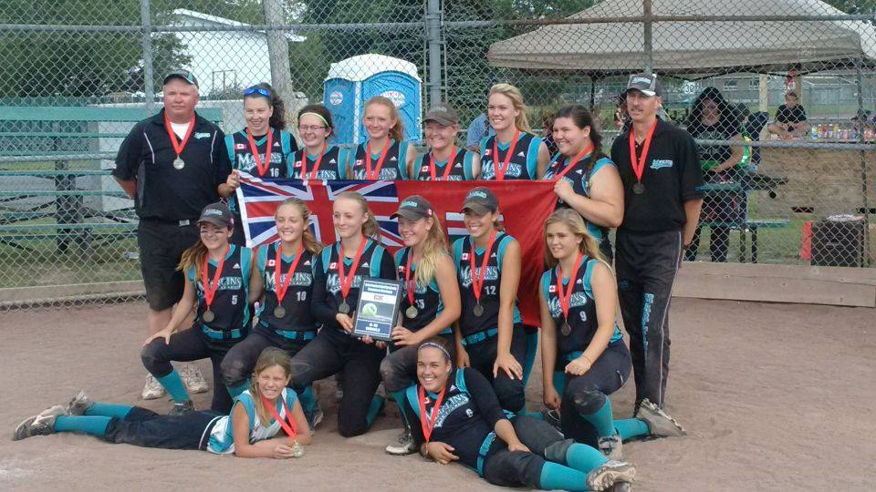 Left to right top row: Coach Dave McEachern, Natalie Eccles (Mount Forest), Kayla McEachern (Palmerson), Reghanne Howes (Listowel), Holly Jackson (Arthur), Ally Iles (Mount Forest), Vanessa Samms (Orangeville), Coach Mark Matheson Middle row: Julia Mantler (Drayton), Jess Johnston (Brussels) Erica Culp (Drayton), Erin Schill (Palmerston ), Sam Rupert Cargill, Carly Holland (Walkerton) Front row: Bat Girl Sara Rupert (Cargill) Mackey Iles (Mount Forest) Absent: Coach Ken Iles. Photo courtesy of Danielle Schill