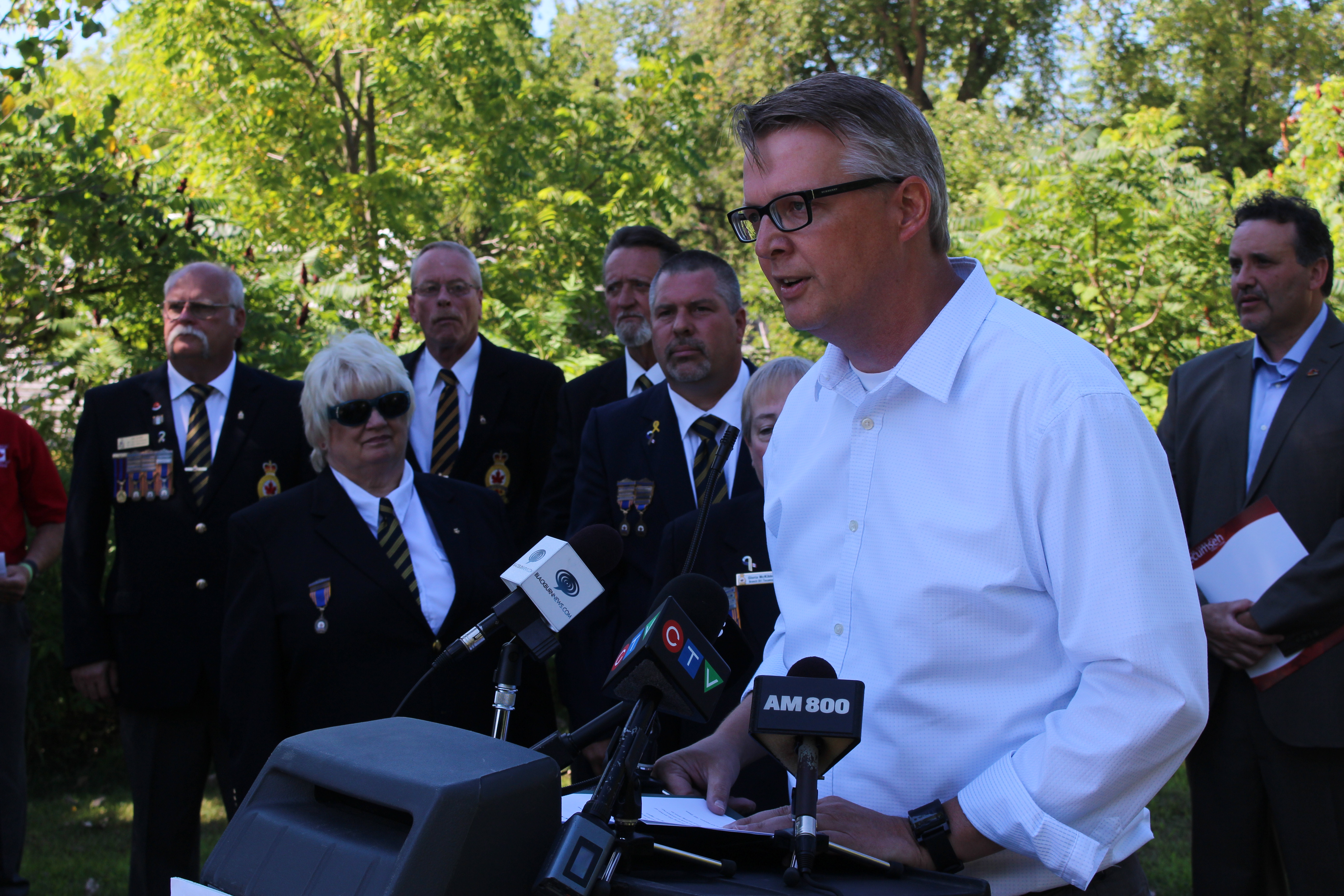 ERCA General Manager Richard Wyma at an announcement for the Chrysler Canada Greenway, July 31, 2015. (Photo by Mike Vlasveld)