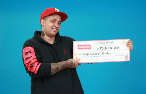 Wayne Last with his cheque from the OLG. (Photo, courtesy OLG)