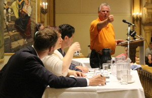 Former Unifor President Ken Lewenza speaks at the Ciaciaro Club in Windsor during a public health care rally, August 26, 2015. (Photo by Mike Vlasveld)