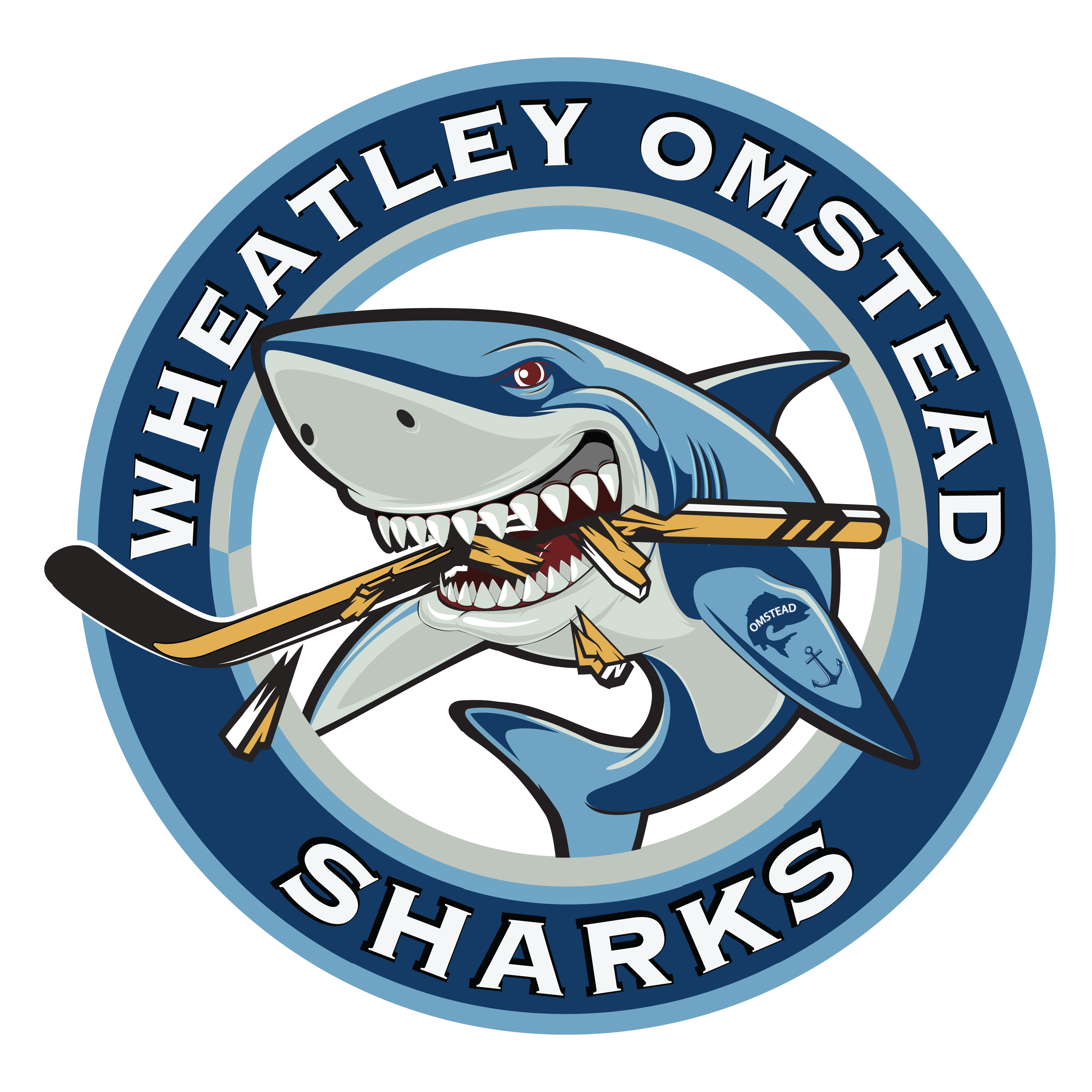 Logo for the Wheatley Omstead Sharks Jr. C hockey team. (Courtesy of Brad Hyatt & the Wheatley Sharks)