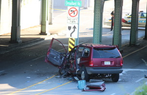 A crash at the underpass on Wyandotte St. E and Drouillard Rd. in Windsor August 27, 2015. (Photo by Adelle Loiselle)