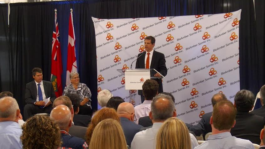 BioAmber CEO Jean Francois Huc speaking at BioAmber Sarnia official opening August 6, 2015 (BlackburnNews.com Photo by Briana Carnegie)