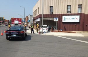 Chatham-Kent police officers were investigating after a car crashed into a Dover St. Building Sept. 1, 2015 (Photo by Simon Crouch)