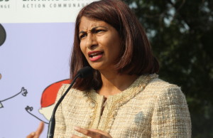 Ontario Associate Minister of Health and Long-Term Care Dipika Damerla speaks at Forest Glade Community Centre, September 1, 2015. (Photo by Mike Vlasveld)