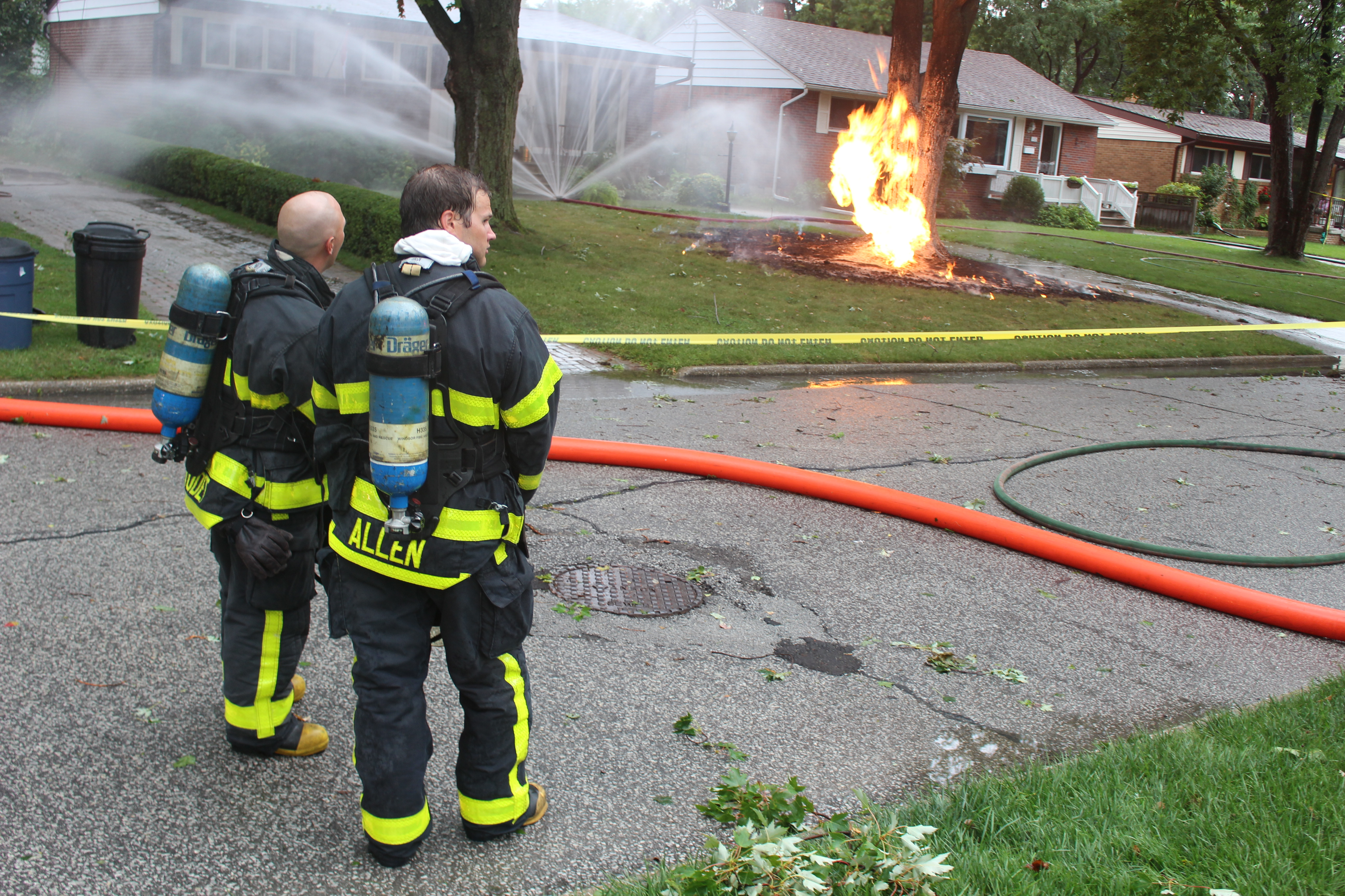Lightning strikes a gas line in the 1100-block of Belleperche Pl., September 3, 2015. (Photo by Jason Viau)