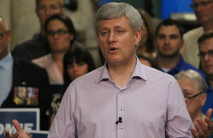 Conservative Leader Stephen Harper makes a campaign stop during the 2015 federal election at Windsor's Anchor Danly on September 20, 2015. (Photo by Ricardo Veneza)