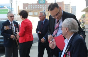 Federal Liberal Party Candidates talk about what their party will do to benefit veterans, outside of Windsor's former veterans affairs office downtown, September 3, 2015. (Photo by Mike Vlasveld)