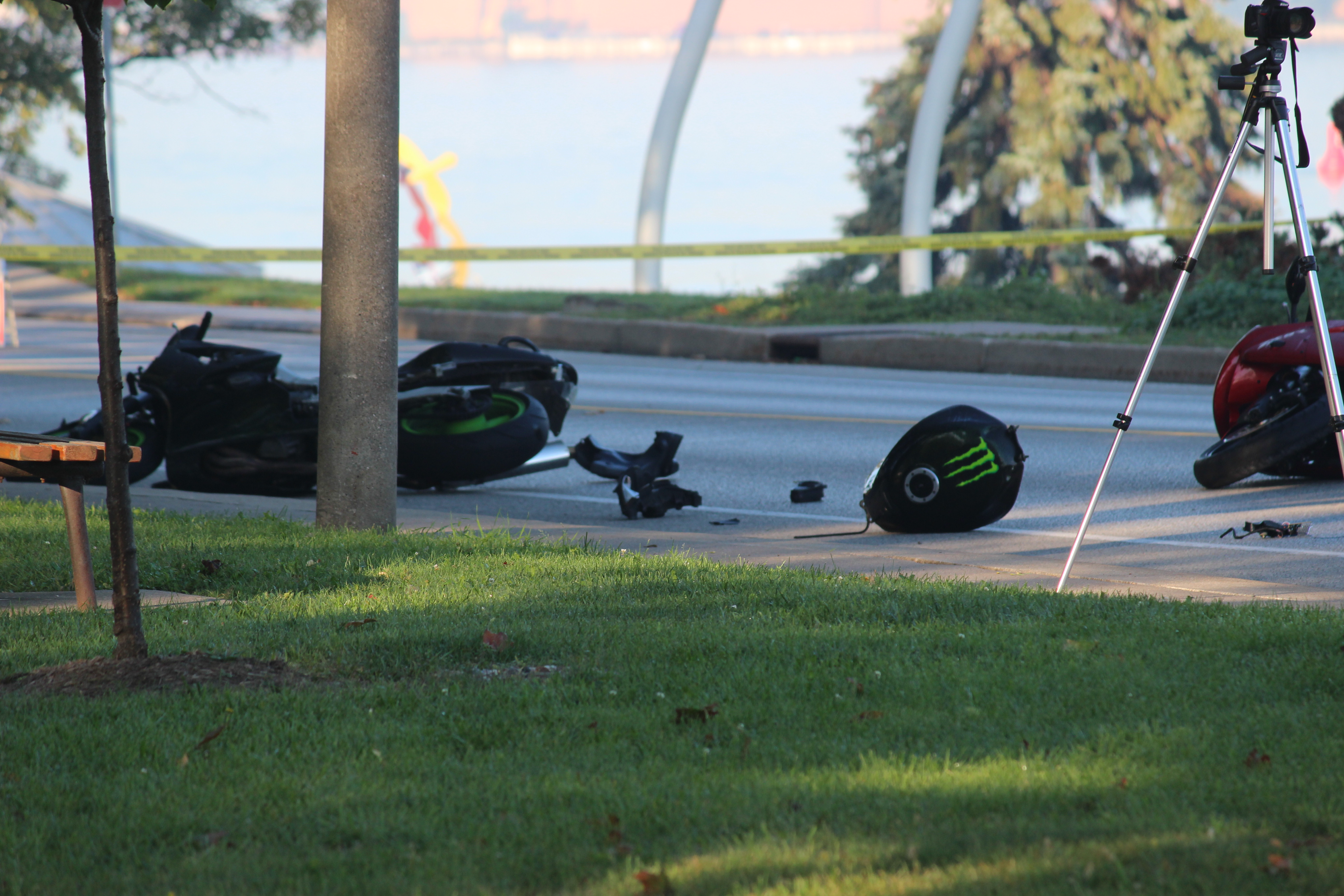 A two-motorcycle crash on Riverside Dr. W September 23, 2015. (Photo by Adelle Loiselle)