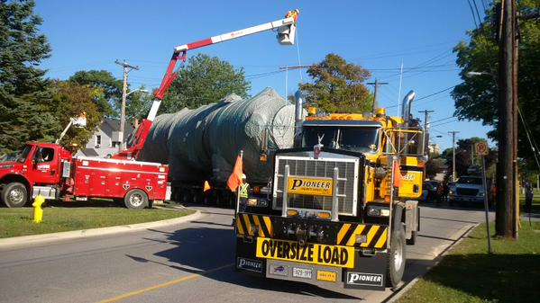 Oversize Load (Waste Heat Exchanger) moves through Sarnia, Wed Sep 16, 2015. Photo by Sarnia Police via Twitter.