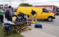 Fire and EMS helping bicyclist onto a stretcher after being involved in a collision with a van on London Rd. October 13, 2015 (BlackburnNews.com Photo by Briana Carnegie)