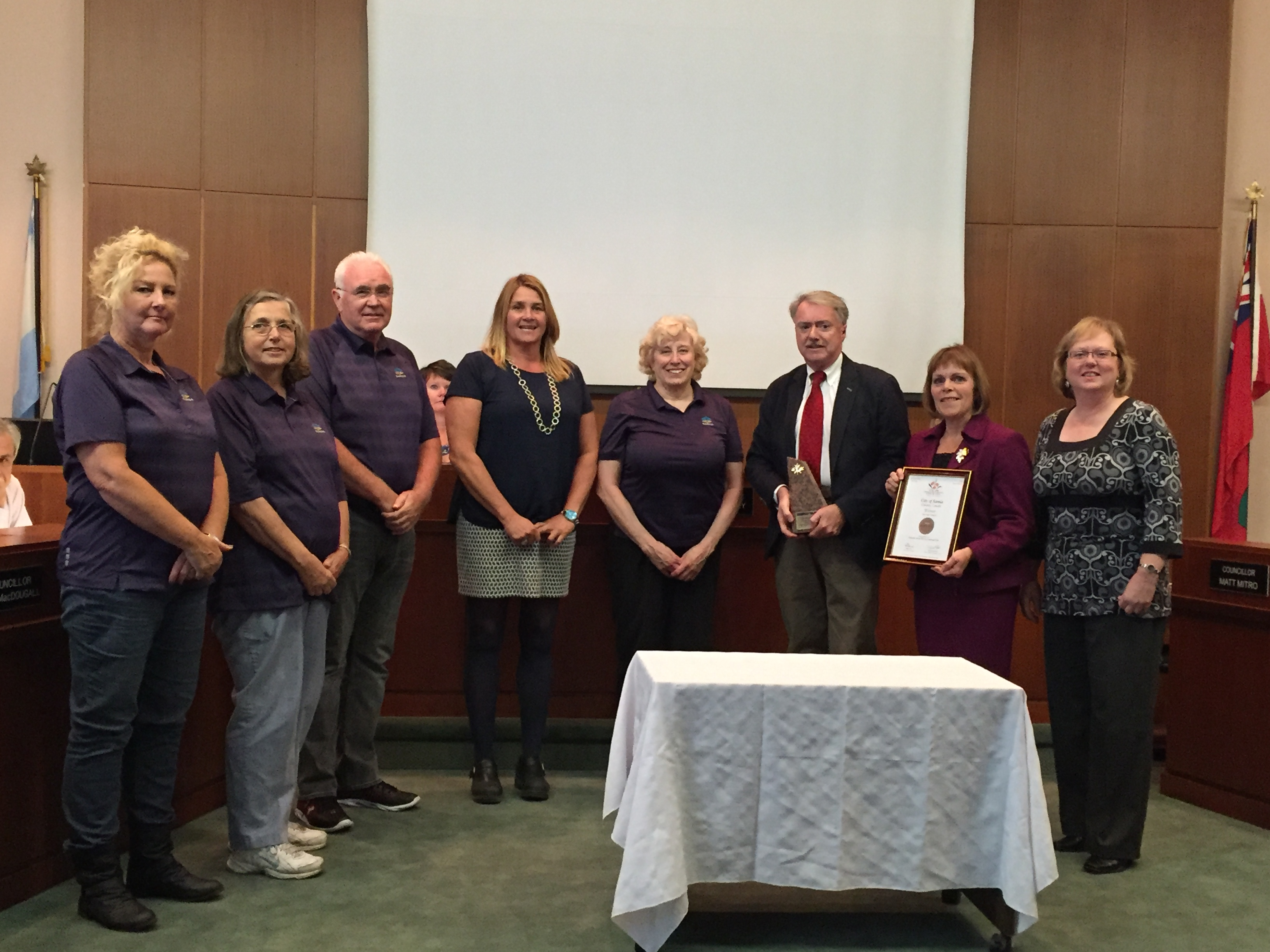 Sarnia's Communities In Bloom International Award is recognized at city hall Oct. 26, 2015 (BlackburnNews.com photo by Briana Carnegie)