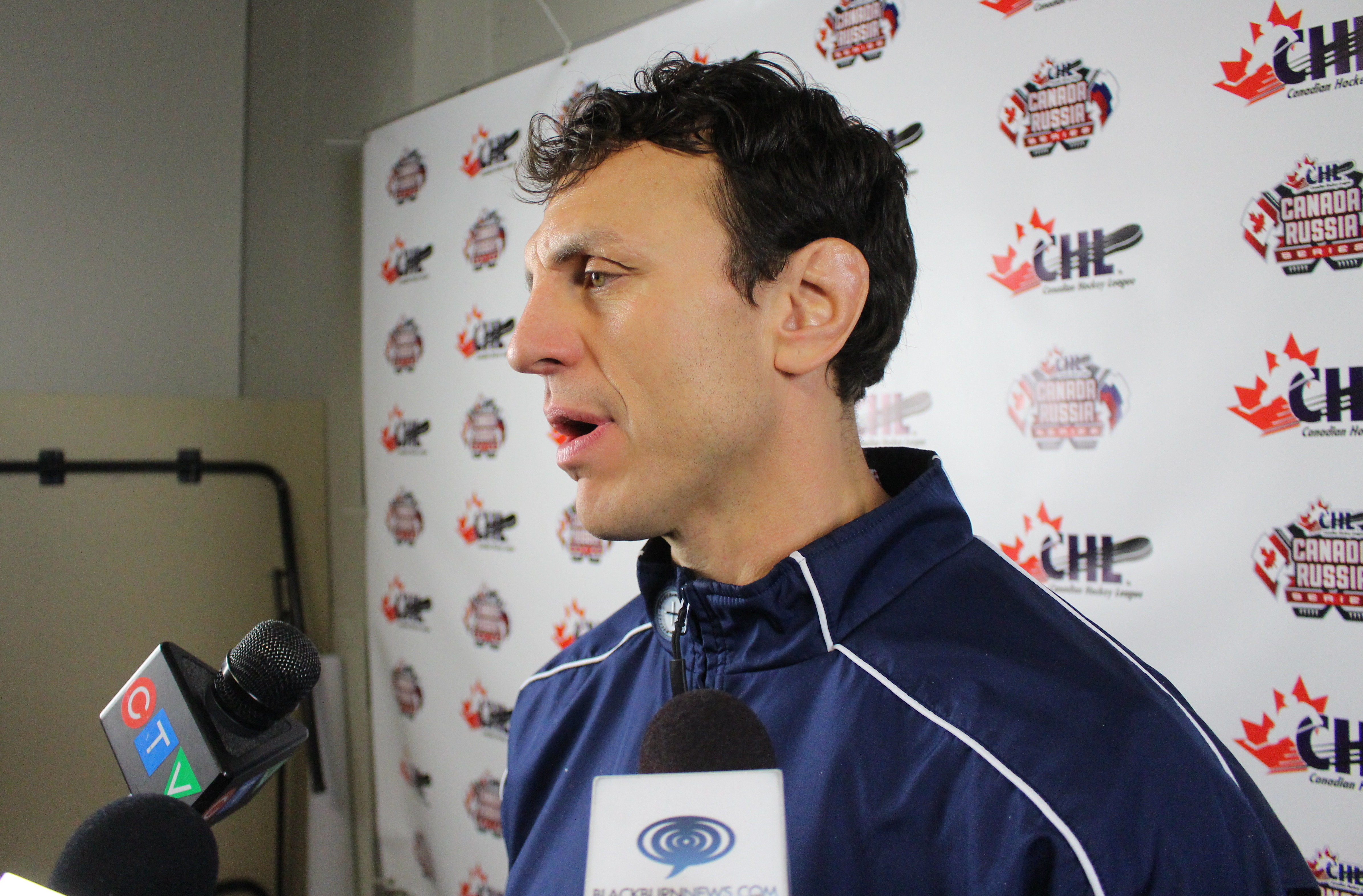 Windsor Spitfires Head Coach Rocky Thompson, October 21, 2015. (Photo by Mike Vlasveld)