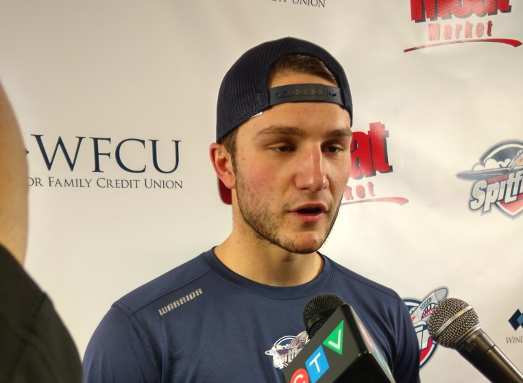 Windsor Spitfires goalie Garret Hughson speaks with reporters following his Spitfires debut, shutting out the Flint Firebirds 3-0 at the WFCU Centre in Windsor, Oct 29. (PHOTO/Mark Brown)