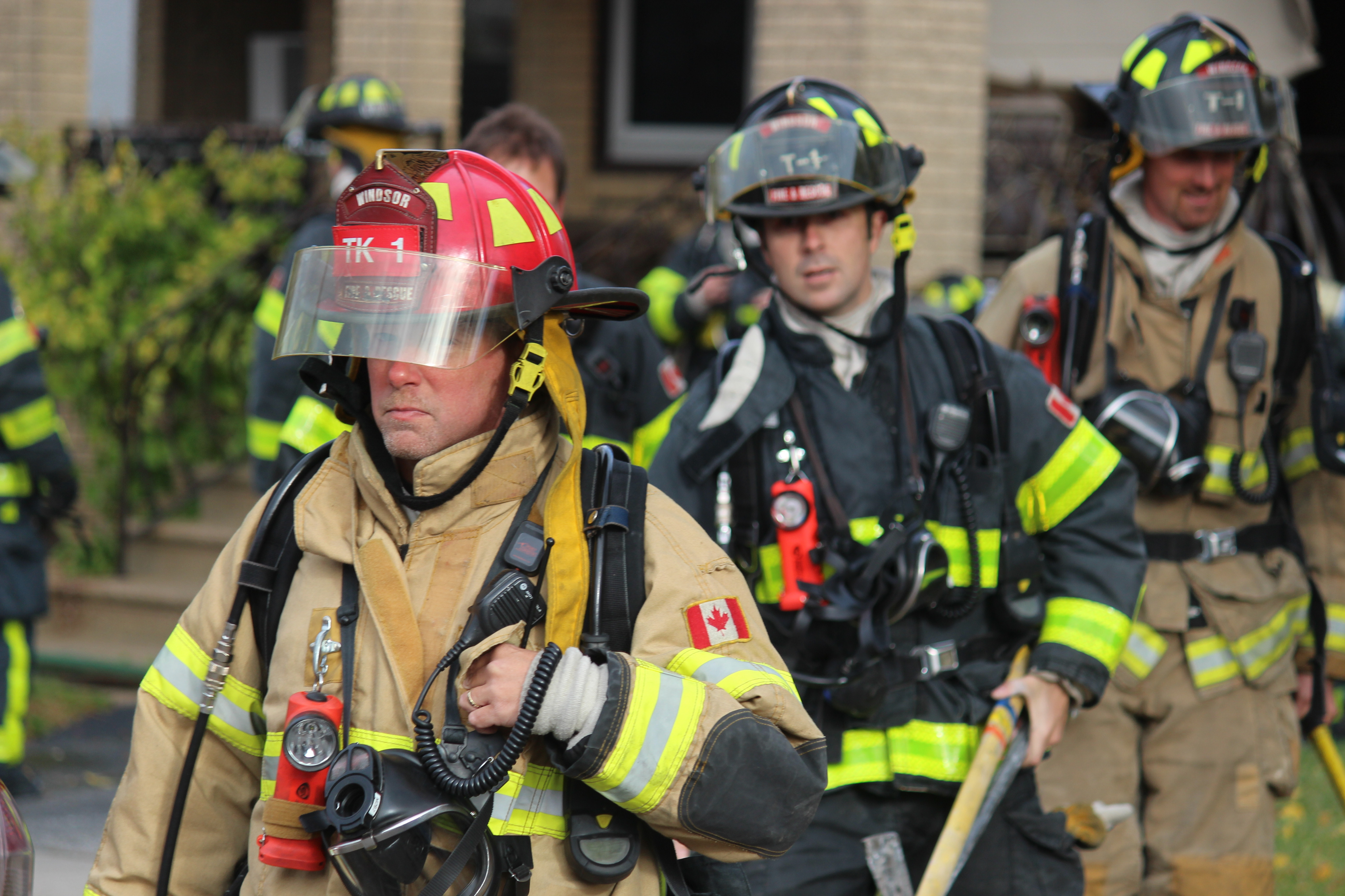 Firefighters at a fire at 234 Brock St. in Windsor, October 29, 2015. (Photo by Adelle Loiselle)
