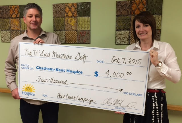 Chris McLeod presents a cheque to Chatham-Kent Hospice Director of Development Jodi Maroney. (Photo courtesy of Chris McLeod)