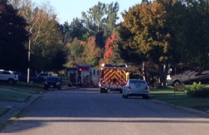 Fire trucks respond to a smoke alarm activation on Highland Dr. in Wingham on October 8, 2015. (Photo by Steve Sabourin)