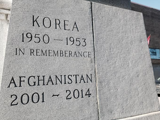 The Chatham Cenotaph section recognizing service in Korea and Aghanistan Nov. 9, 2015. (Photo by Simon Crouch)