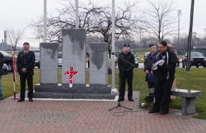 Members of the community gathered at the Aamjiwnaang First Nation Cenotaph in Sarnia Tuesday for the annual Remembrance Day ceremony. November 10, 2015 (BlackburnNews.com Photo by Briana Carnegie)