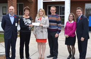 A $5,000 cheque from Insurance Bureau of Canada is presented to the Chesley Hospital Foundation.  Left to right: Paul Rosebush (President & CEO, South Bruce Grey Health Centre), Isabel Bell (Treasurer, Chesley Hospital Foundation), Madi Murariu (Manager of Community Outreach, Insurance Bureau of Canada), Nathan Rhody (South Bruce Grey Health Centre board of directors), Lynn Bos (Clinical Education Coordinator, South Bruce Grey Health Centre), Bill Walker (MPP, Bruce - Grey - Owen Sound). Photo by Jordan McKinnon