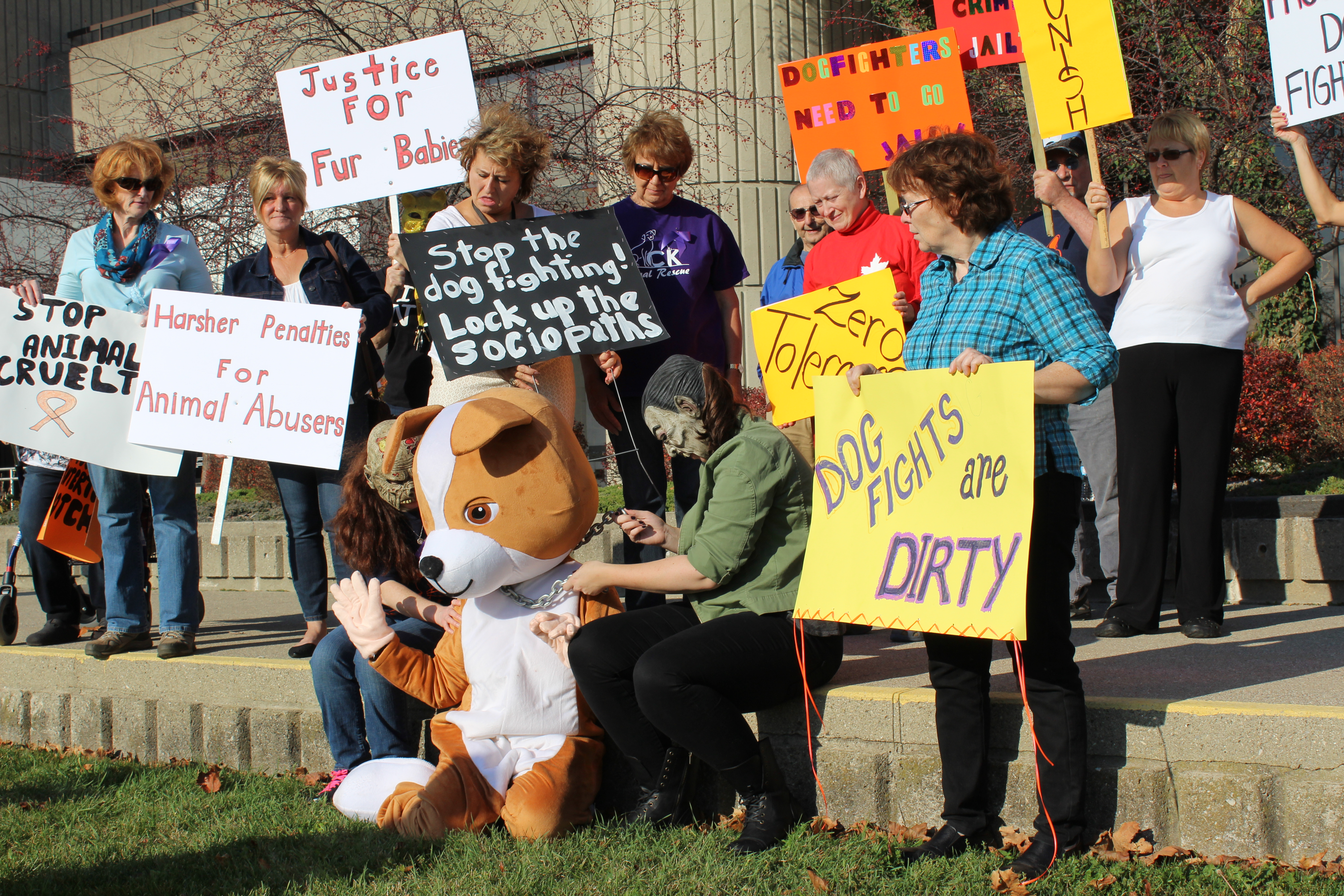 Protesters re-enact animal cruelty outside of the Chatham Courthouse. November 5, 2015. (Photo by Matt Weverink)