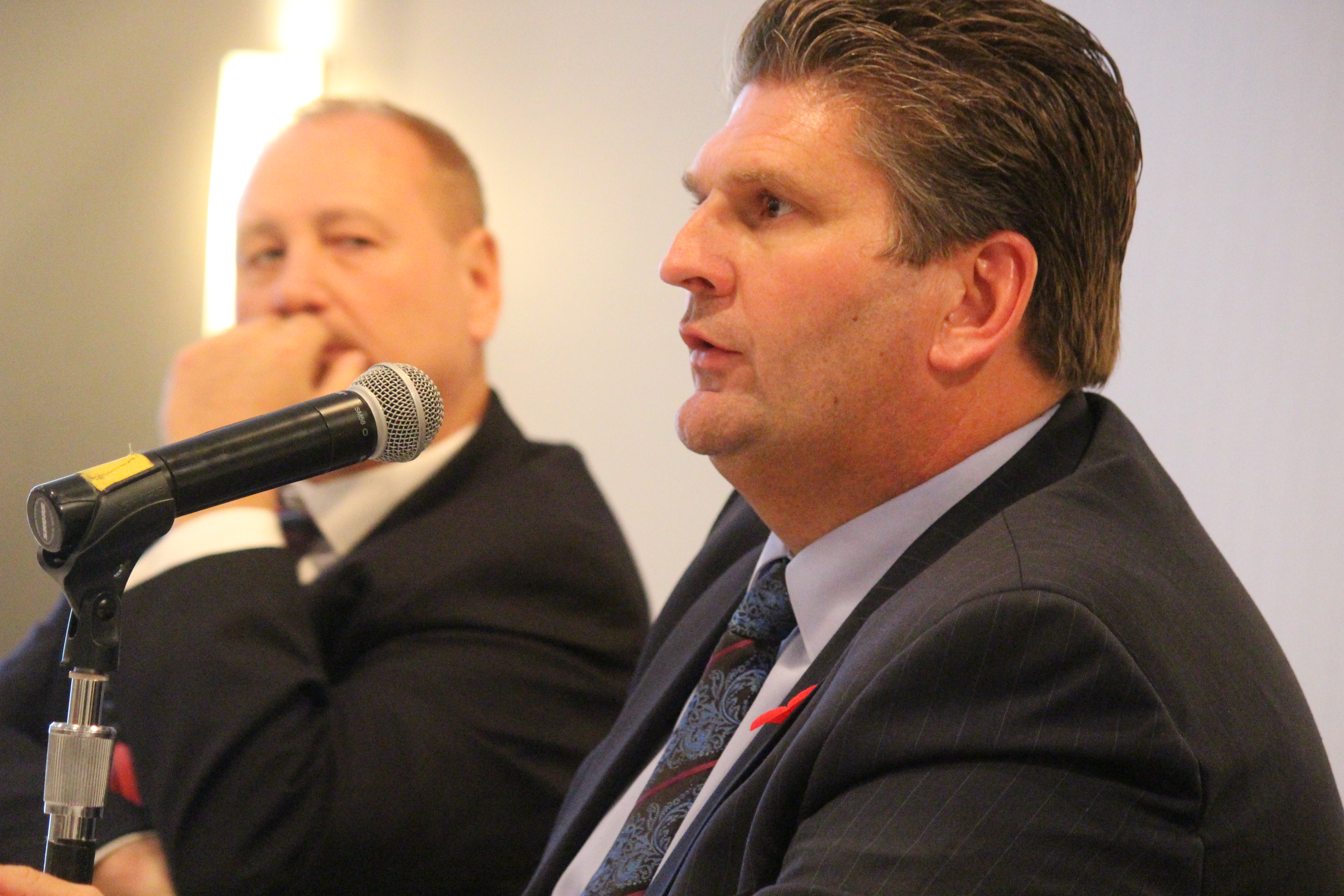 Windsor Regional Hospital CEO David Musyj at a townhall meeting at Windsor's Waterfront Hotel put on by the Downtown Windsor BIA on November 11, 2015. (Photo by Ricardo Veneza)