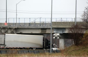 The EB 402 reopened early Nov. 26, 2015 after the Indian Rd. overpass was damaged in a crash. (BlackburnNews.com photo by Dave Dentinger)
