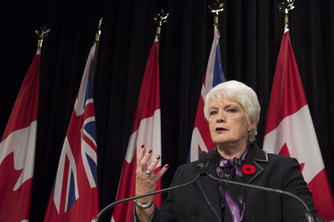Ontario Education Minister Liz Sandals gives an update on labour negotiations with the Elementary Teachers Federation of Ontario at Queens Park in Toronto, Monday, Nov.2, 2015. THE CANADIAN PRESS/Frank Gunn