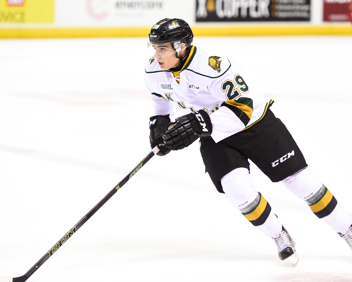 Sam Miletic of the London Knights. (Photo courtesy of Aaron Bell via OHL Images)