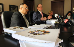Windsor Treasurer Onorio Colucci, Mayor Drew Dilkens and CAO Helga Reidel discuss the 2016 draft budget, November 30, 2015. (Photo by Mike Vlasveld)