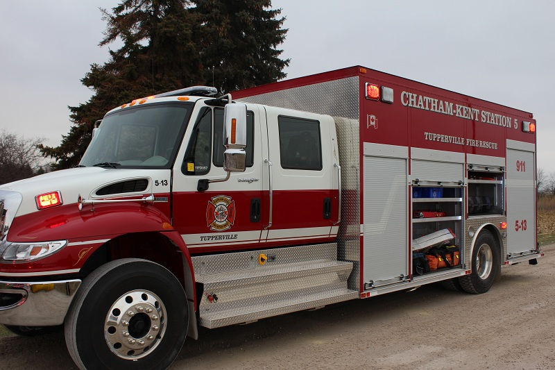 Chatham-Kent Fire rescue unit from Station 5 Tupperville at a fire December 30, 2015. (Photo by Simon Crouch)