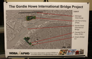 An aerial view of what the Gordie Howe International Bridge Plazas will look like on both sides of the border, December 15, 2015. (Photo by Mike Vlasveld)