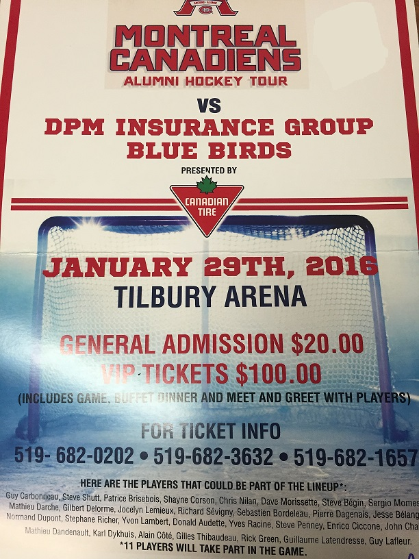 A poster advertising the Tilbury Lions Club hockey game fundraiser. (Photo by Mike James)