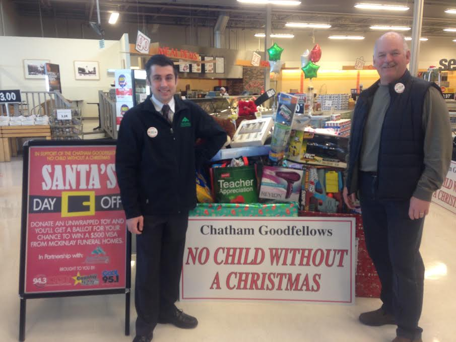 """Blackburn Radio and McKinlay Funeral Homes band together to support the Chatham Goodfellows' """"No Child Without a Christmas"""" campaign at the Real Canadian Superstore, December 2, 2015. (Photo courtesy of Amanda Thibodeau)"""