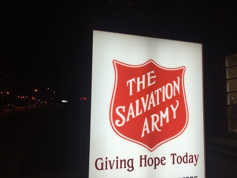 Salvation Army sign with logo. BlackburnNews.com file photo. (Photo by Mike James)
