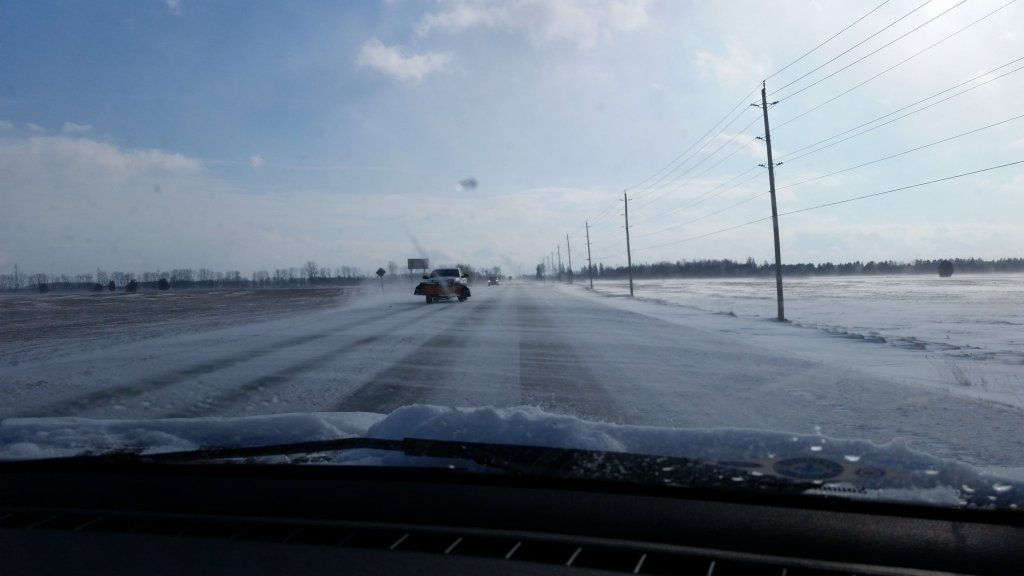 Snow blowing across Hwy 40 around noon January 12, 2016. (Photo by Cheryl Johnston)