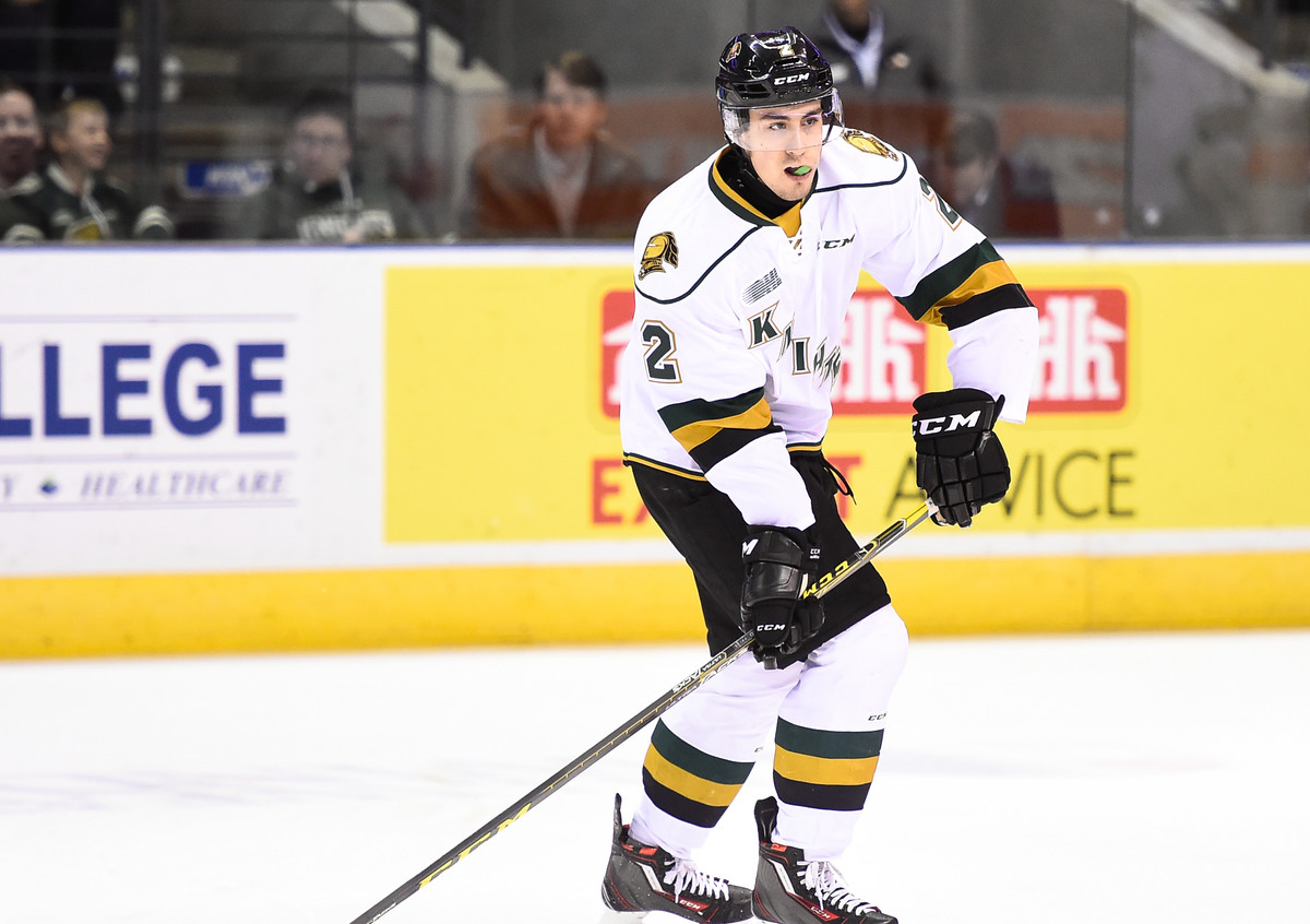 Evan Bouchard of the London Knights. (Photo courtesy of Aaron Bell via OHL Images)