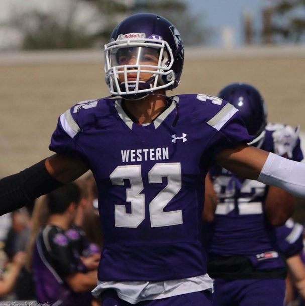 Western Mustangs defensive back and Chatham native Josh Woodman. (Photo courtesy of Facebook)