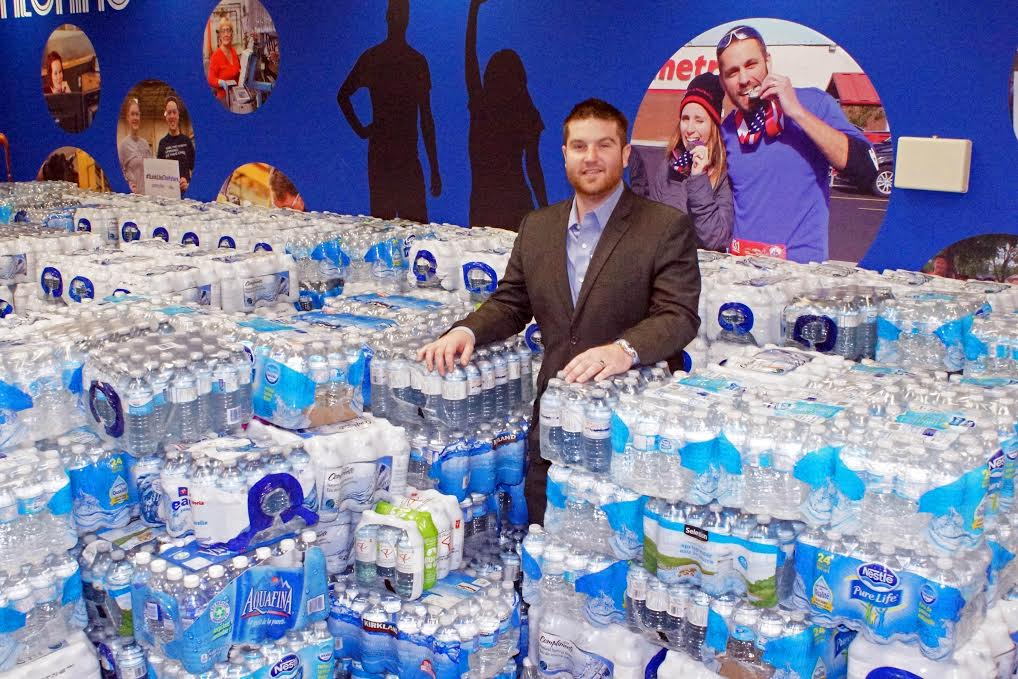 The Windsor Spitfires collected over 40,000 water bottles for Flint, Michigan as of January 21, 2016. (Photo courtesy of the Windsor Spitfires.)