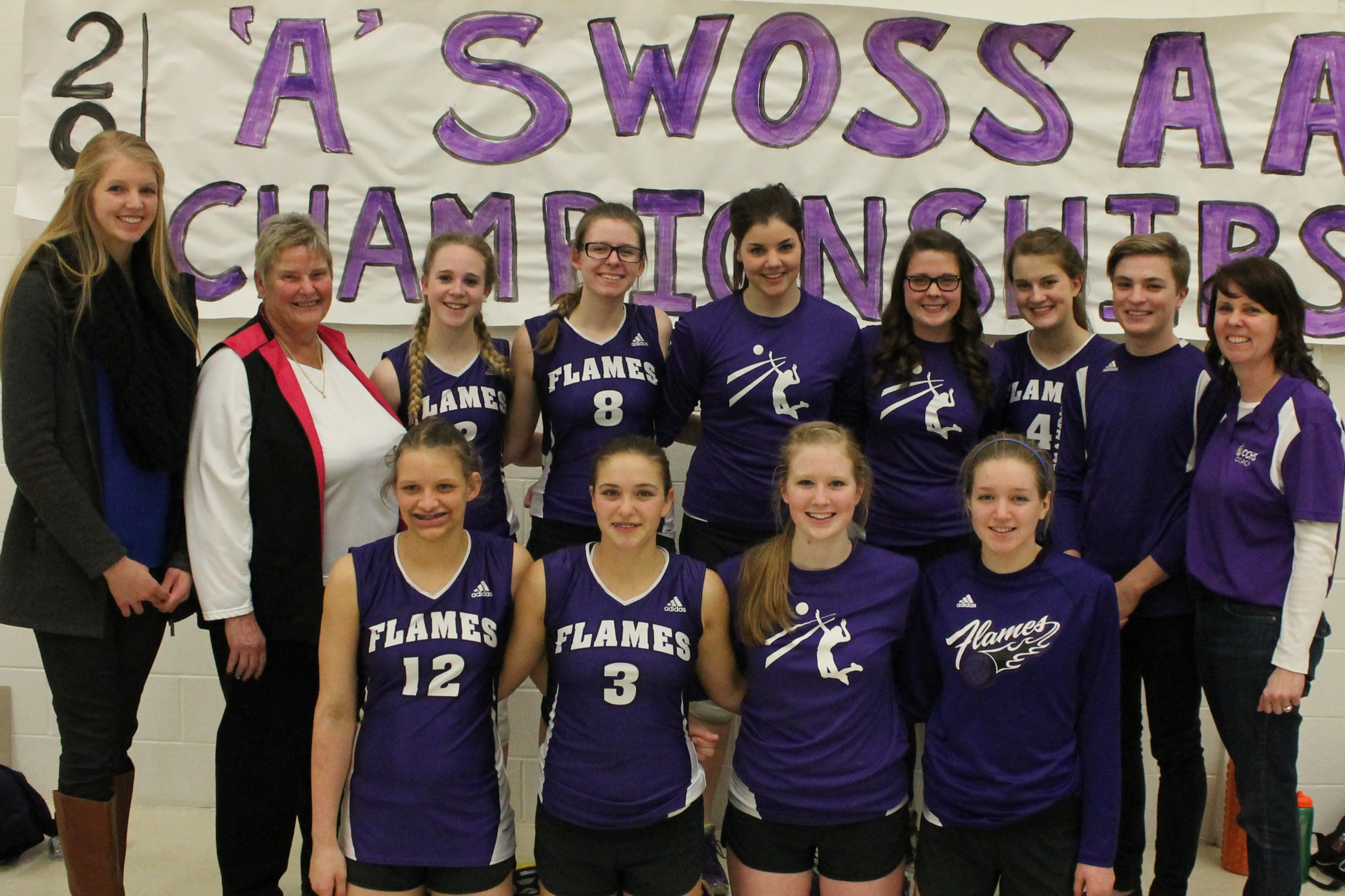 CCHS Sr. Girls Volleyball Team. Back row: Amy Bultje, Coach Ingrid Lahey, Ainsley McNamara, Abby Sluys, Michelle Vyn, Kate Taylor, Adele Steele, Bryce Koomans, Coach Patricia Sluys Front row: Amy Koomans, Allison Bos, Laura Dieleman, Erica Bultje. (Photo submitted by Sharon Smith)