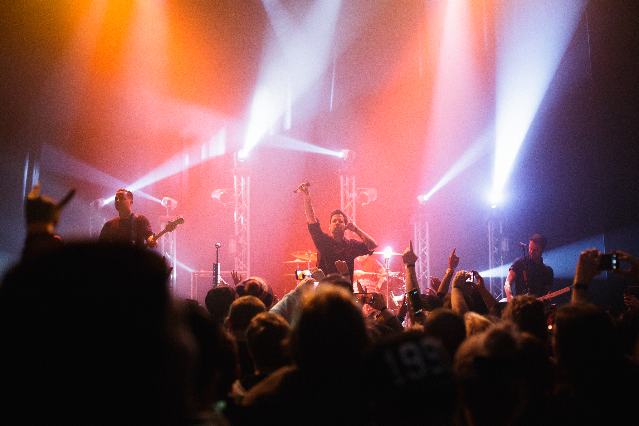 Canadian band Simple Plan on stage at the Olde Walkerville Theatre in a benefit concert presented by Blackburn Radio on February 17, 2016. (Photo by Jason Ploegman)