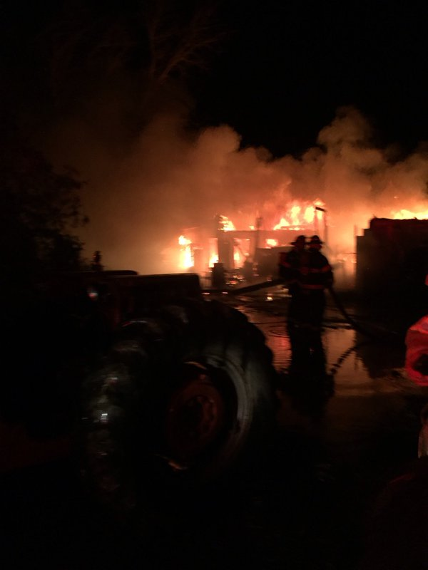 Amherstburg fire crews respond to a garage fire in the 9100-block of County Rd. 41, February 1, 2016. (Photo courtesy Amherstburg Fire Department)