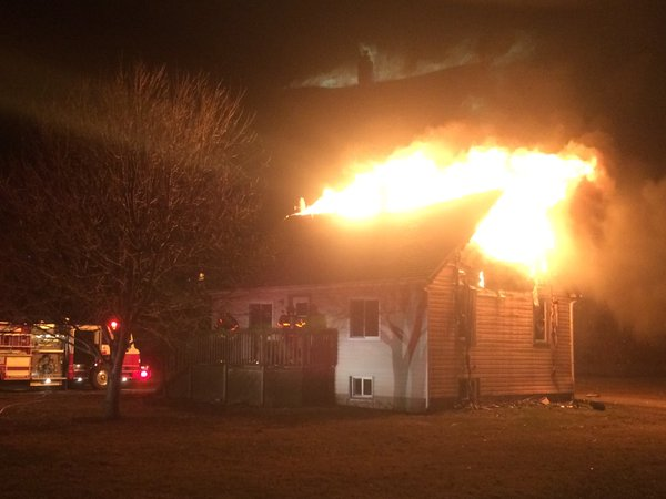 Leamington fire crews battle a blaze in the 1600-block of Mersea Rd. 5, February 3, 2016. (Photo courtesy Leamington fire)