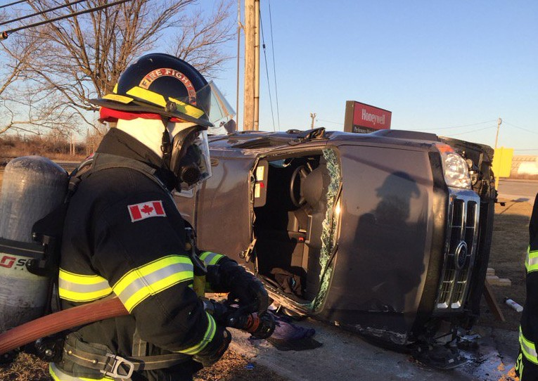 Firefighters respond to the scene of a crash on Front Rd. N in Amhersrburg, February 20, 2016. (Photo courtesy of the Amherstburg Fire Department via Twitter)