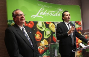 Minister of Agriculture Jeff Leal and Lakeside Produce President and CEO Chris Cervini announce expansion of the company that will support an addition 203 jobs in Leamington, February 2, 2016. (Photo by Maureen Revait)