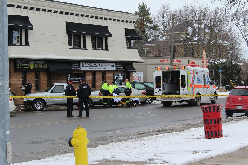 A Woodstock woman was taken to hospital after a car went onto a sidewalk and crashed into her February 16, 2016. (Photo by Simon Crouch)