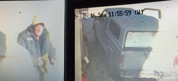 Police release images of gas theft suspect and suspect vehicle. (Photo courtesy of CK Police)