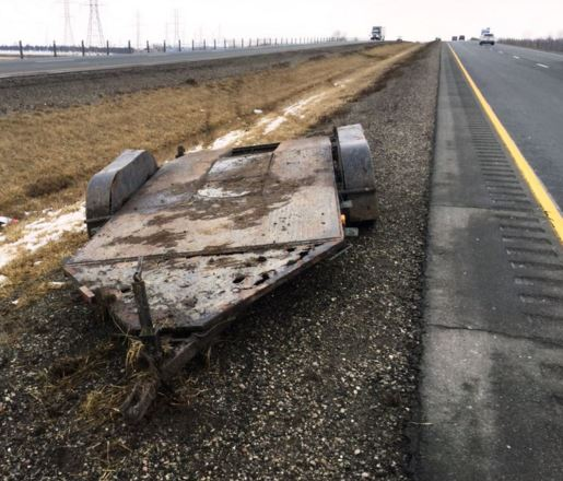 Chatham-Kent OPP say this trailer became detached from a pickup truck on the 401, Saturday, March 5. (Photo courtesy of OPP)