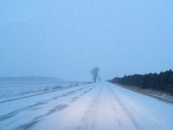 Ice and snow covered roads in winter storm Mar. 1, 2016 (submitted photo)